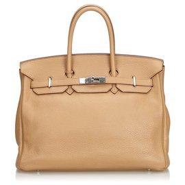 Hermès-Hermes Brown Clemence Birkin 35-Marron,Marron clair,Marron foncé