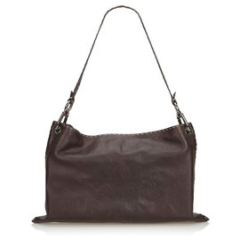 Fendi-Fendi Brown Selleria Leather Shoulder Bag-Brown,Dark brown