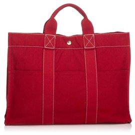 9aca5b14c3 Hermès-Hermes cabas Rouge Rouge-Rouge ...