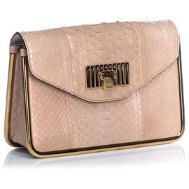 Chloé-Chloe Brown Python Leather Sally Crossbody Bag-Brown,Beige,Golden