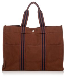 Hermès-Hermes Brown Fourre Tout GM-Brown,Blue,Dark brown,Navy blue