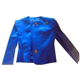 Yves Saint Laurent-Tailor Yves Saint Laurent blue silk King Model collector rare-Blue