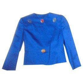 Yves Saint Laurent-Schneider Yves Saint Laurent blaue Seide König Modell seltener Sammler-Blau