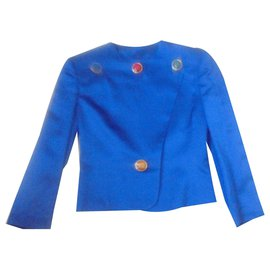 Yves Saint Laurent-Taileur Yves Saint Laurent en soie bleu Roi Model collector rare-Bleu