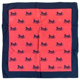 Céline-Silk scarves-Black,Coral