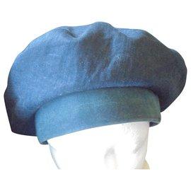 Hermès-CHAPEAU MOTSCH HERMES-Bleu Marine,Vert foncé