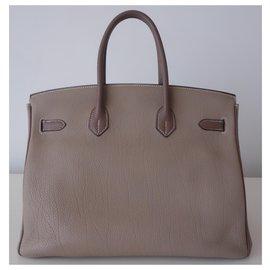 Hermès-Sac Hermes Birkin 35 bicolore-Gris,Taupe