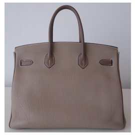 Hermès-HERMES BIRKIN BAG 35 bicolour-Grey,Taupe