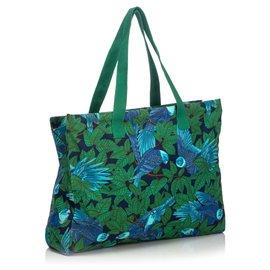 Hermès-Hermes Blue Printed Canvas Tote Bag-Blue,Multiple colors