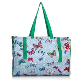 Hermès-Hermes Blue Butterfly Printed Canvas Tote Bag-Blue,Multiple colors,Light blue