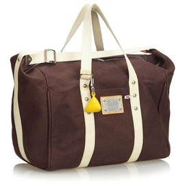 Louis Vuitton-Louis Vuitton Week-end Antigua Sac Marron-Marron,Blanc,Marron foncé