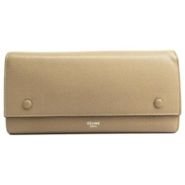 Céline-Celine Brown Leather Large Flap Multifunction Bi-fold Wallet-Brown,Red,Beige