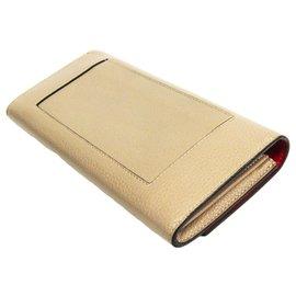 Céline-Celine Brown Leather Large Flap Multifunction Bi-fold Wallet-Brown,Red,Beige