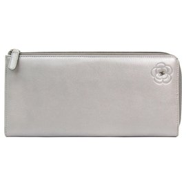 Chanel-Chanel Silver Camellia Leather Long Wallet-Silvery