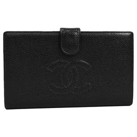 Chanel-Chanel Black Caviar French Purse Wallet-Black