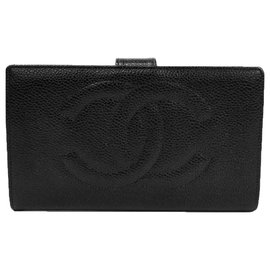 Chanel-Chanel Black Caviar Timeless French Wallet-Black