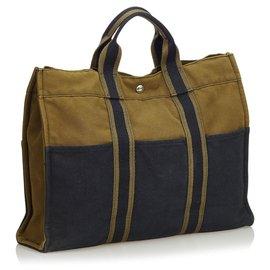 Hermès-Hermes Brown Fourre Tout MM-Brown,Blue,Khaki,Navy blue
