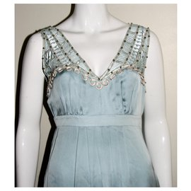 Temperley London-Silk dress with lace and embellishments-Turquoise