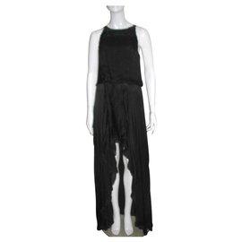 Halston Heritage-High Low silk gown-Black