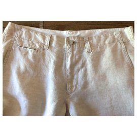 Autre Marque-Pantalon droit en lin beige clair chiné T.48-Beige
