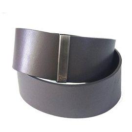 Christian Dior-Large ceinture en cuir-Gris anthracite