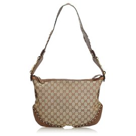 Gucci-Gucci Brown Large GG Canvas Pelham Studded Hobo Bag-Brown,Beige