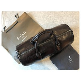 Berluti-Berluti two tone leather travel bag-Brown