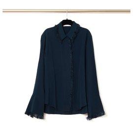 Chloé-NAVY SILK FRINGES FR40-Navy blue