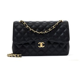 Chanel-Large Classic Bag 30 Timeless black caviar gold-Black,Golden
