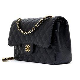 Chanel-Grand Sac Classique 30 Timeless black caviar gold-Noir,Doré