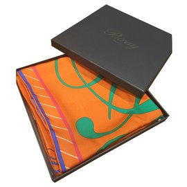 Poiray-Foulard en soie-Orange