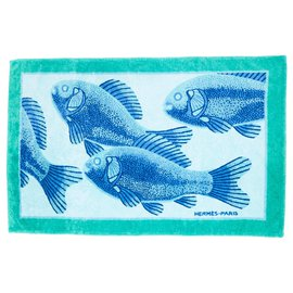 Hermès-BLUE FISH TOWEL-Blue,Green