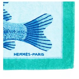 Hermès-BLUE FISH TOWEL-Bleu,Vert