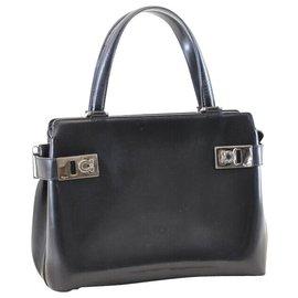 Salvatore Ferragamo-Salvatore Ferragamo Leather Hand Bag-Black