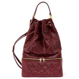 Chanel-TIMELESS BURGUNDY BACKPACK-Golden,Dark red