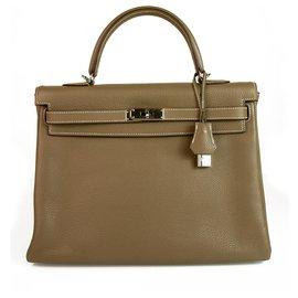 Hermès-hermes kelly 35 Taupe Togo Leather with Palladium Hardware mint condition-Taupe