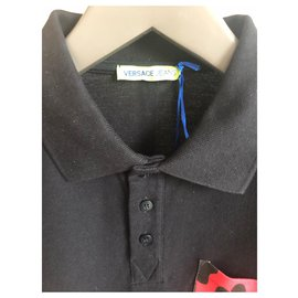 Versace-VERSACE NEW MEN'S BLACK POLO-Black