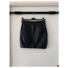 Bel Air-mini jupe en cuir noire taille haute-Noir
