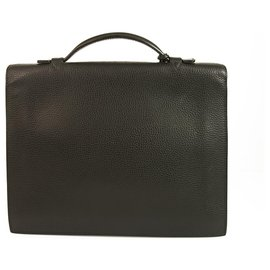 Hermès-Hermes Sac a Depeches 27 Black Togo Leather Briefcase Handbag Palladium Hardware-Black