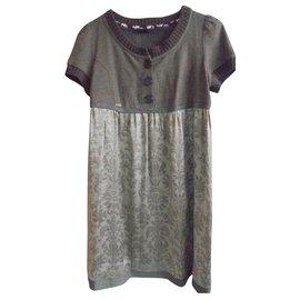 Ikks-IKKS dress in silk and wool-Brown,Dark grey