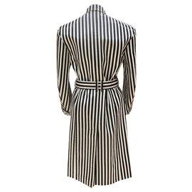 Balmain-Manteau Balmain à rayures noires et blanches-Noir