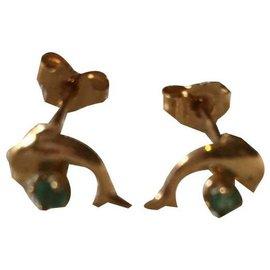 Autre Marque-Boucles d'oreilles dauphin émeraude or jaune 18 carats-Doré,Vert