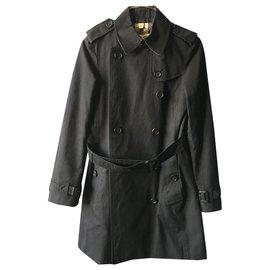 Burberry-Trench-coat noir Burberry-Noir,Beige