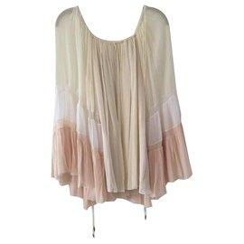 Chloé-Boho shirt Chloé ecru white and pink-Cream