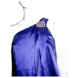 Halston Heritage-Grecian silk dress-Purple