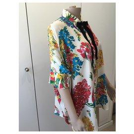 Gucci-chemise en soie à fleurs-Moutarde