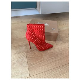 Christian Louboutin-Christian Louboutin red lace heels-Red