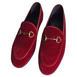 6060700a9 Gucci-Gucci Jordaan velvet loafer MOCCASINI NEW-Red ...