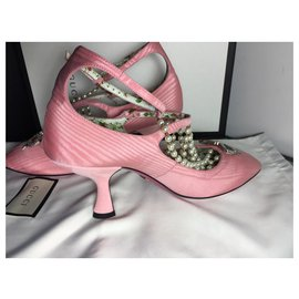 Gucci-GUCCI HEELS CHAUSSURES SATIN ROSE ET PERLE-Rose