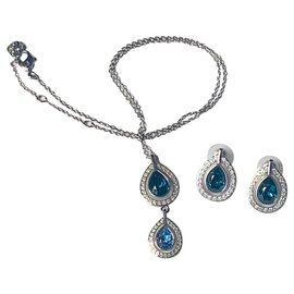 Swarovski-Ensembles de bijoux-Argenté,Bleu